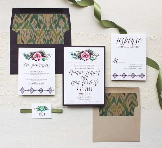 Boho Wedding Invitations Succulent Wedding by BeaconLane on Etsy
