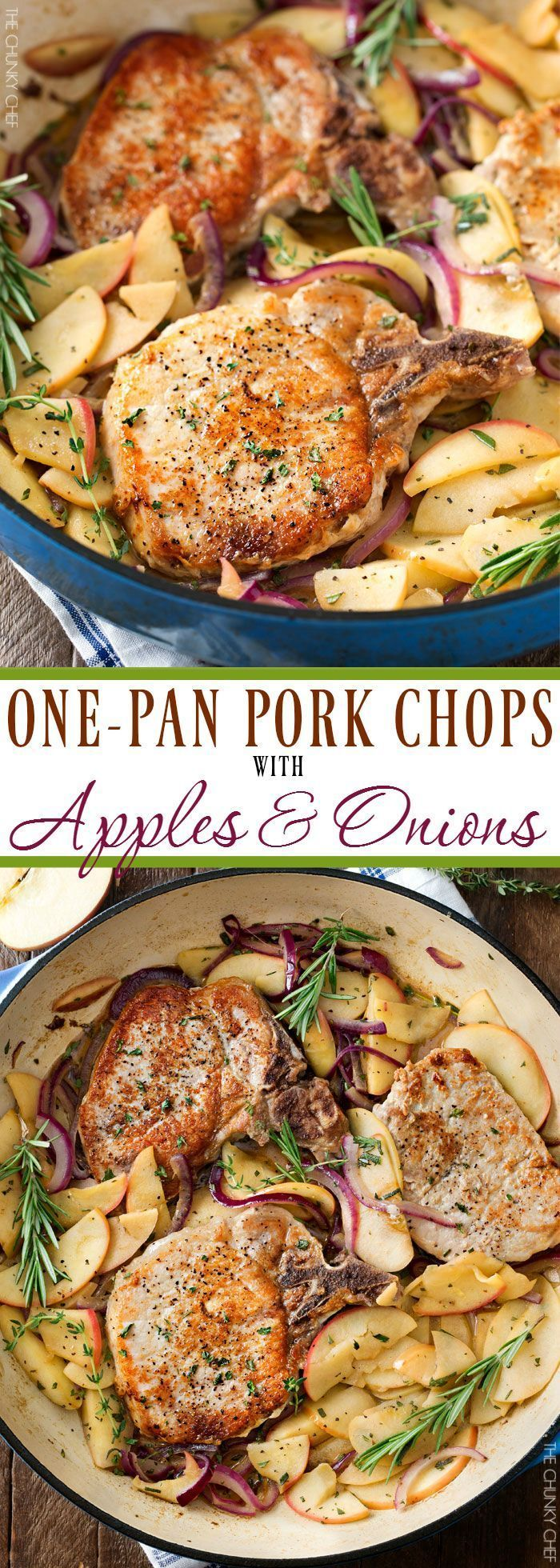 One Pan Pork Chops with Apples and Onions   Amazing Fall flavors combine in this one pan, 30 minute pork chop meal!