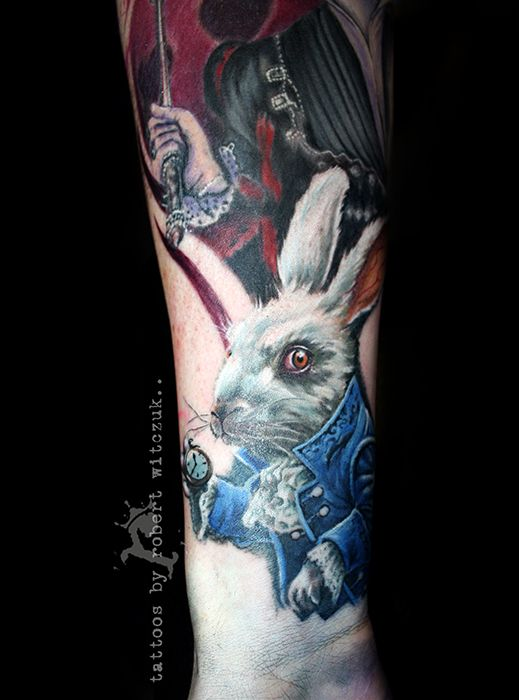 Alice Rabbit Tattoos by Robert Witczuk