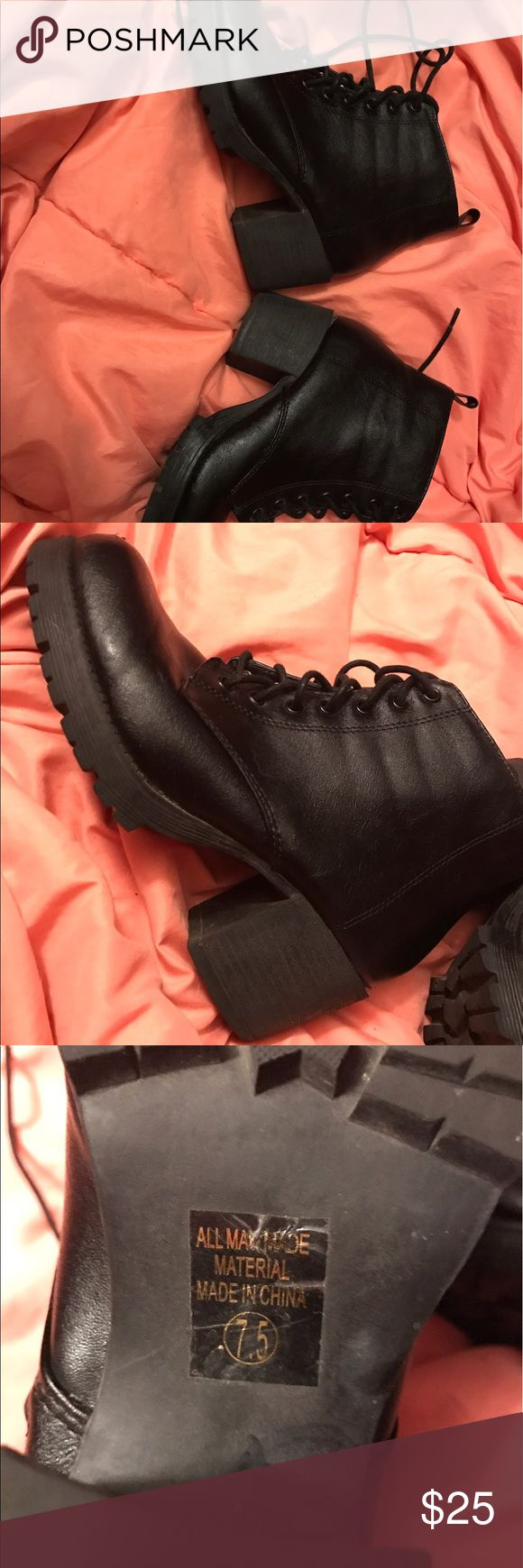 Black combat boots Black combat boots, in perfect condition. Tilly's Shoes Combat & Moto Boots