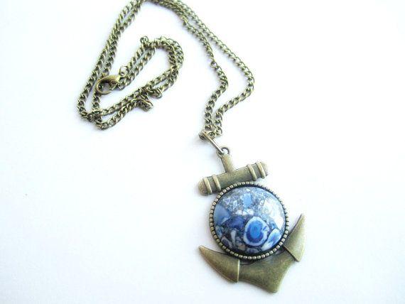 Anchor mens necklace jasper pendant mens by Bravemenjewelry