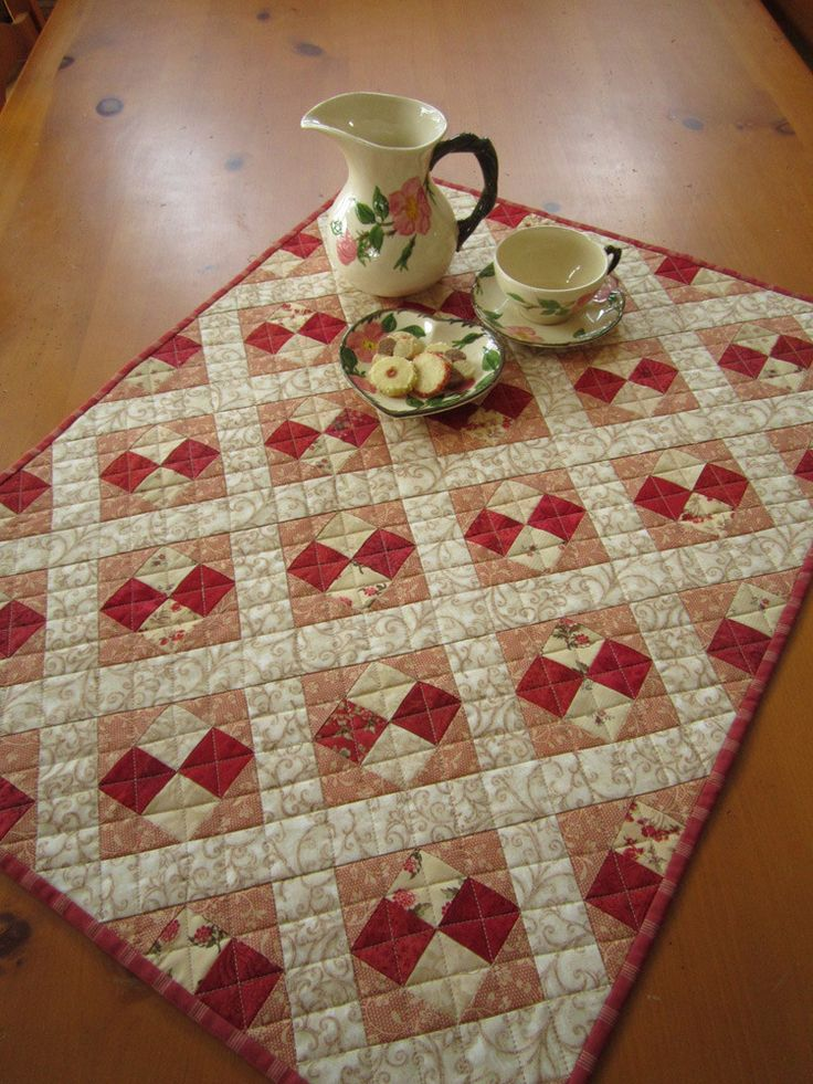 Quilted Table Topper Handmade Table Decor By