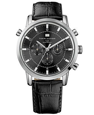 Tommy Hilfiger Watch, Men's Black Leather Strap 44mm 1790875 - All Watches - Jewelry & Watches - Macy's