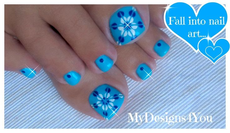 Easiest Toenail Art Design | Blue Floral Pedicure ♥ Легкий Цветочный Пед...