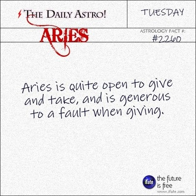Aries: I usually go overboard.