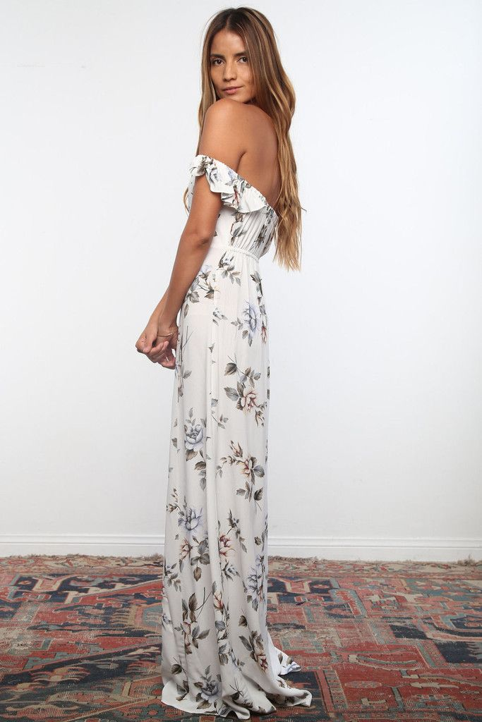 Flynn Skye 2016 || Bardot maxi dress in white rose | Soleil Blue