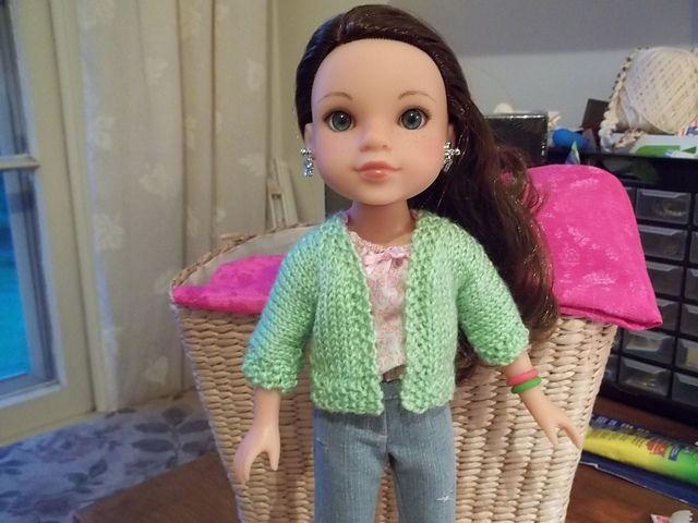 "Modified free knitting pattern to fit 14"" dolls"