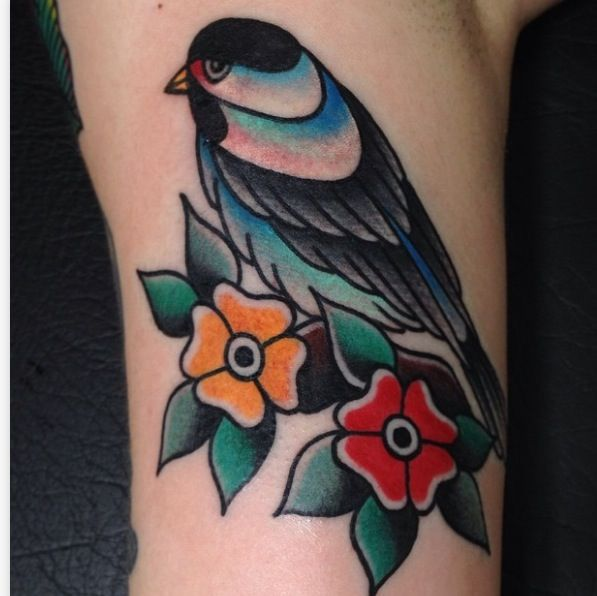 Traditional magpie tattoo - photo#37
