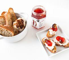 Roasted Garlic & Red Pepper Jelly Crostini