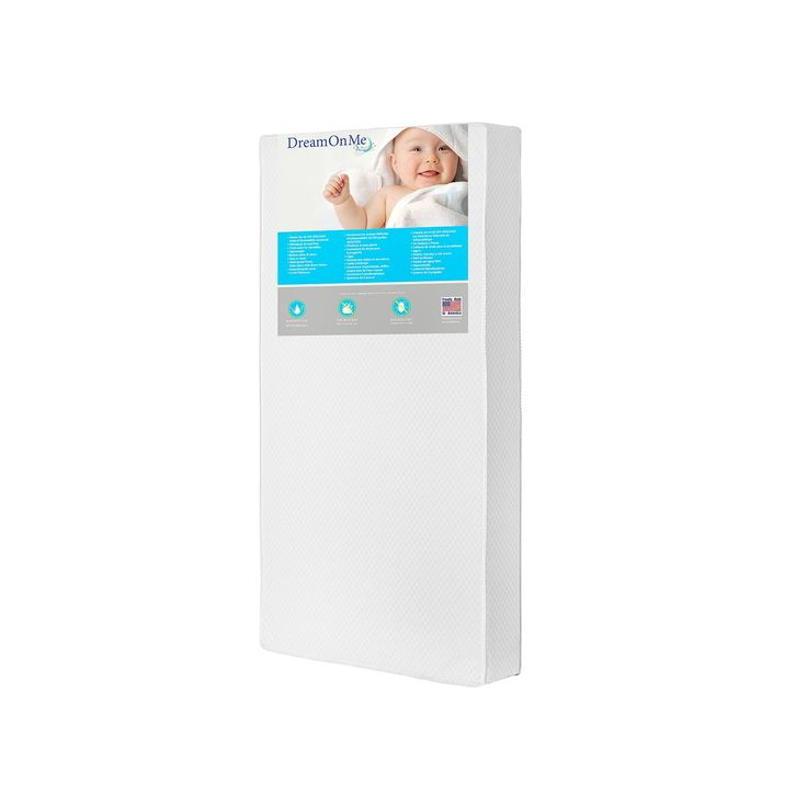Dream On Me Lavender 2-in-1 Foam Core Crib & Toddler Bed Mattress, White