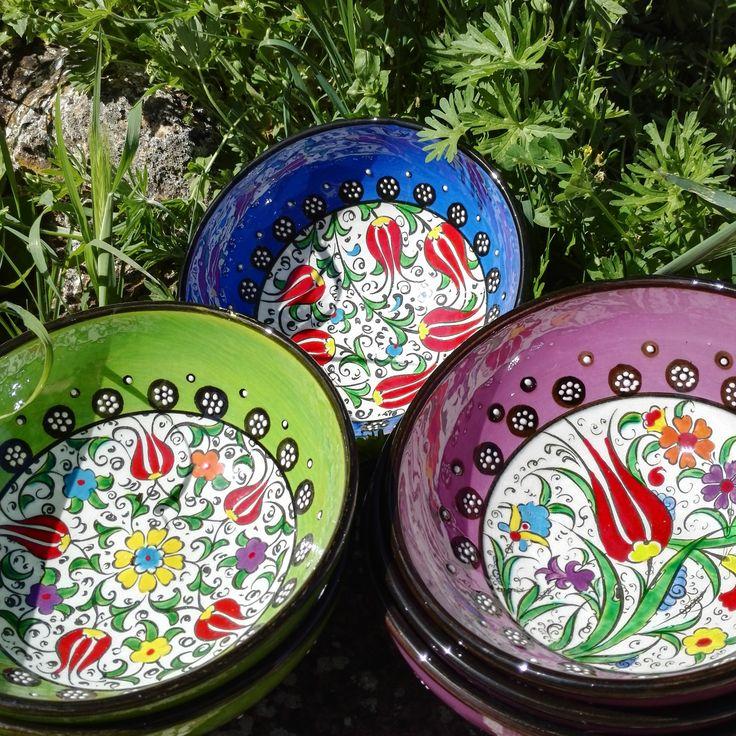 #bols colorés sous un joli soleil, utilisables en #decoration ou #vaisselle, par KaravaneSerail