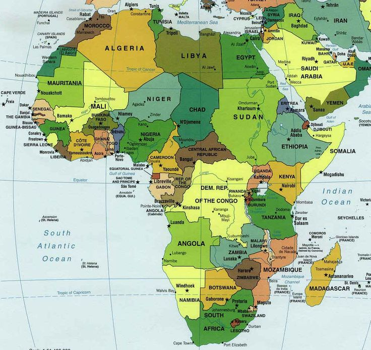 carte afrique; map of Africa