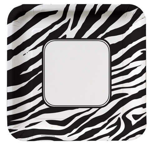 Creative Converting Animal Print Zebra Square Dinner Plates, 8 Count by Creative Converting. Save 30 Off!. $4.86. From the Manufacturer                Natural habitats. Our animal print collection brings exotic elegance to the table with our new Leopard partyware, along with our popular giraffe and zebra prints. Mix them, match them and mingle them with coordinating solids for a bit of animal magnetism at any gathering. With over 80 years of combined experience in the paper and...