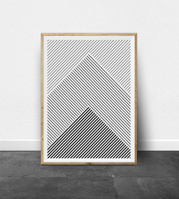 Geometric Print Geometric Art Black and by ThePrintableStudio