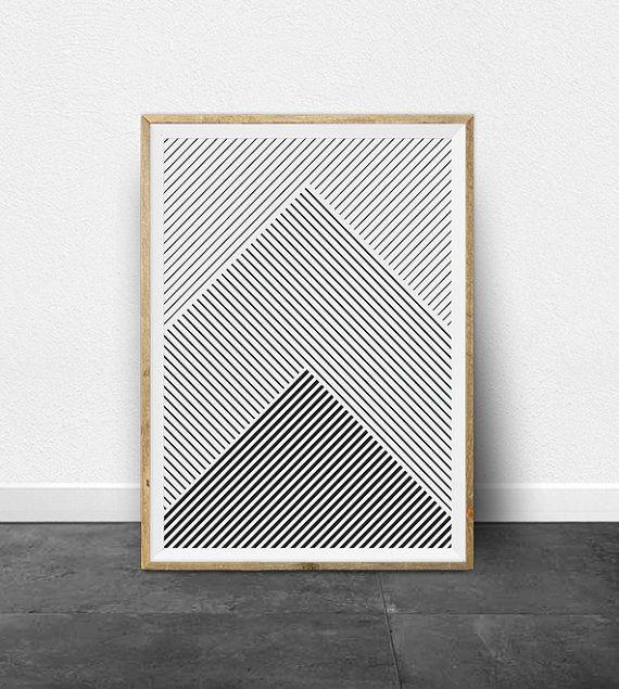 Geometric Print, Geometric Art, Black and White Stripes, Printable Art, Black…