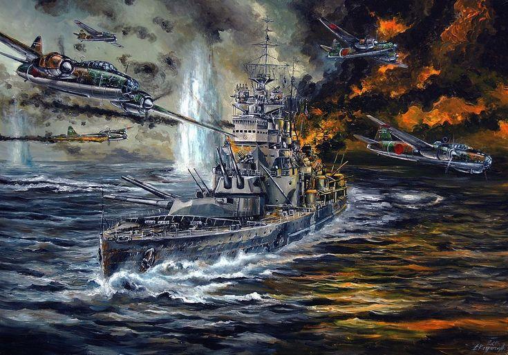 La continuación de la anterior; el HMS Prince of Wales bajo el ataque de los torpederos japoneses. Más en www.elgrancapitan.org/foro