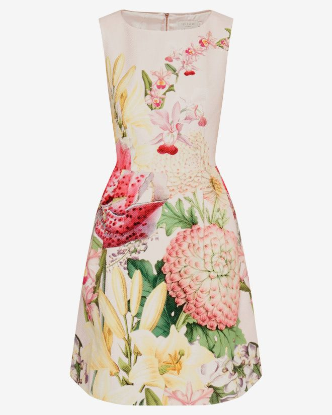 Encyclopaedia Floral pleated dress - Nude Pink | Dresses | Ted Baker ROW