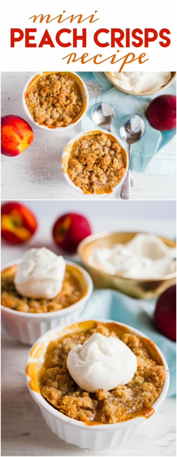 Mini Peach Crisps recipe. SO GOOD! You'll love this family favorite dish! Yummy summer dessert, great fall recipe too!