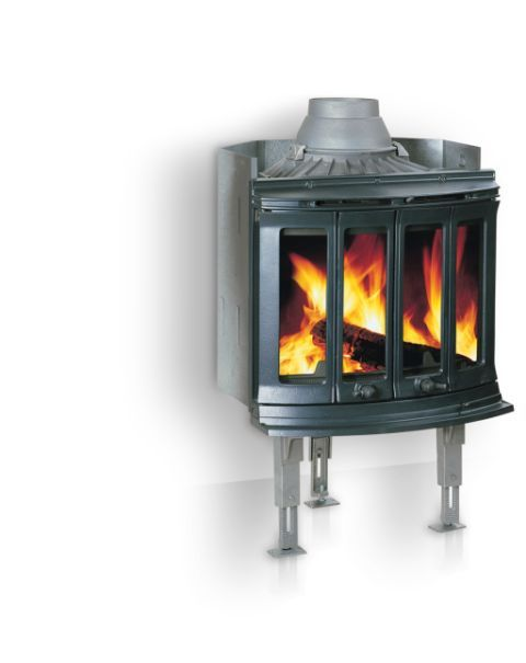 Jøtul I 80 RH Harmony: This is a large insert in a classic design with large glass doors which offer a fantastic view of the flames. By cutting down and spray painting the legs all Jøtul I 80 models are equally at home in an inglenook setting with the optinal canopy, available to suit from Jøtul (UK) Ltd.