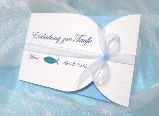 Einladungskarte Zur Taufe / Junge, Inkl. Druck   Eine Liebevoll Gestaltete  Einladungskarte Für Die Taufe Eures Sohnes. Man öffnet Erst Die  Organzaschleife ...