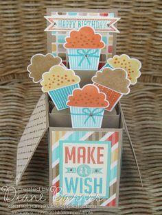 Stampin Up Create a Cupcake pop up card in a box by Di Barnes #stampinupau #stampinup #colourmehappy #cardinabox