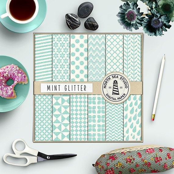 Glitter Digital Paper -  http://etsy.me/2aWM9pW Mint glitter digital paper with mint, glittered polka dots, chevron, stripes, triangles, herringbone & quatrefoil patterns.
