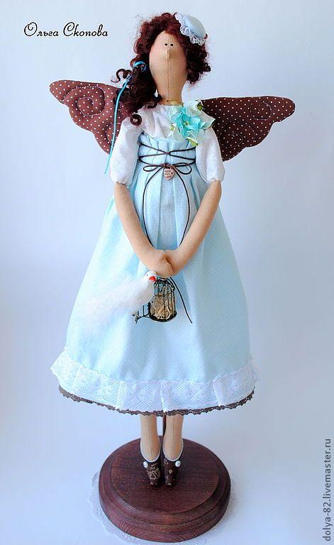 """Купить Тильда фея. """"Шоколадные крылышки"""" - бирюзовый, подарок женщине, подарок девушке, украшение интерьера"""
