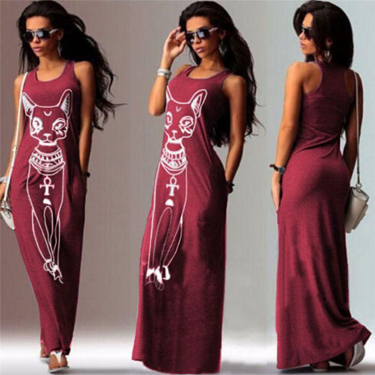 Long dress for women sexy shirt dresses sleeveless cartoon printed maxi beach dress floor length summer vestidos womens fashion