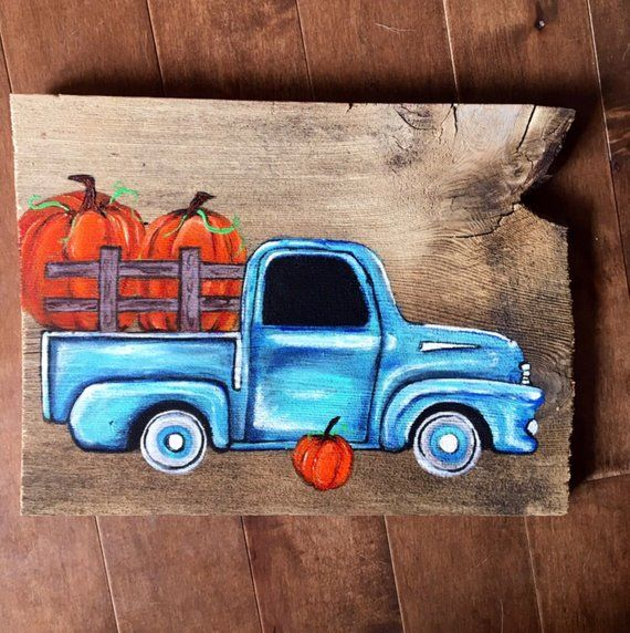Vintage Truck And Pumpkin Fall Painting On Barn Board Pumpkin Fall Decor Vintage Blue Chevy Pick Up Truck And Pumpkin Painted On Barn Wood Autumn Painting Fall Window Painting Pumpkin Fall