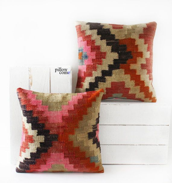 SET 2 Piece Vintage Hand Woven Kilim Pillow Cover by pillowcome sofa pillows