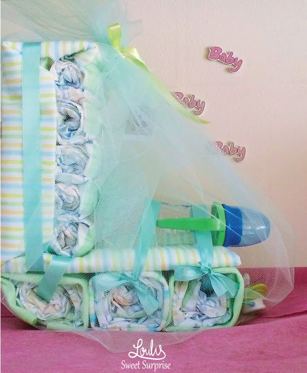 Diaper Cake for Boys Baby train with diaper Gift for baby Shower  #Loulis_Sweet_Surprise