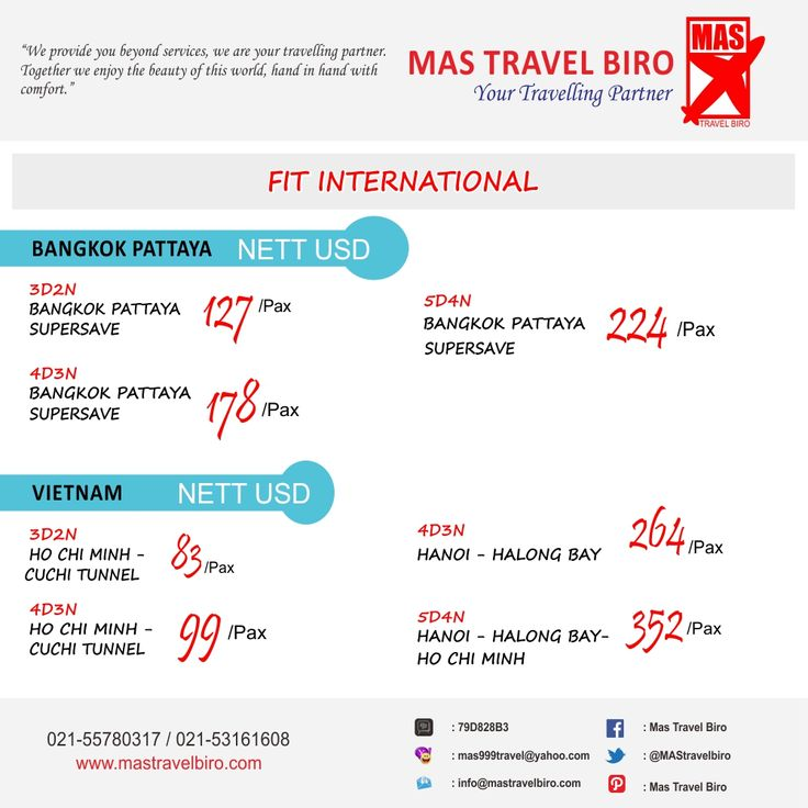 PROMO TOUR FIT !! Book and Buy Mas Travel Biro. Info: 021-55780317 / 021-53161608