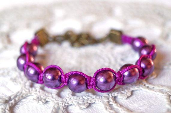 Beautiful bracelet- and on sale through 12/4!!!Purple beaded bracelet shamballa bracelet by Bracelicious on Etsy