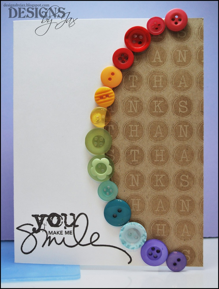 Love the rainbow of buttons; simple idea but very effective and attractive!