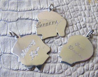 Grandmother Mother Bracelet Grandchildren Boy Charms Silhouette Sterling Silver Engraved Charms ~ Vintage