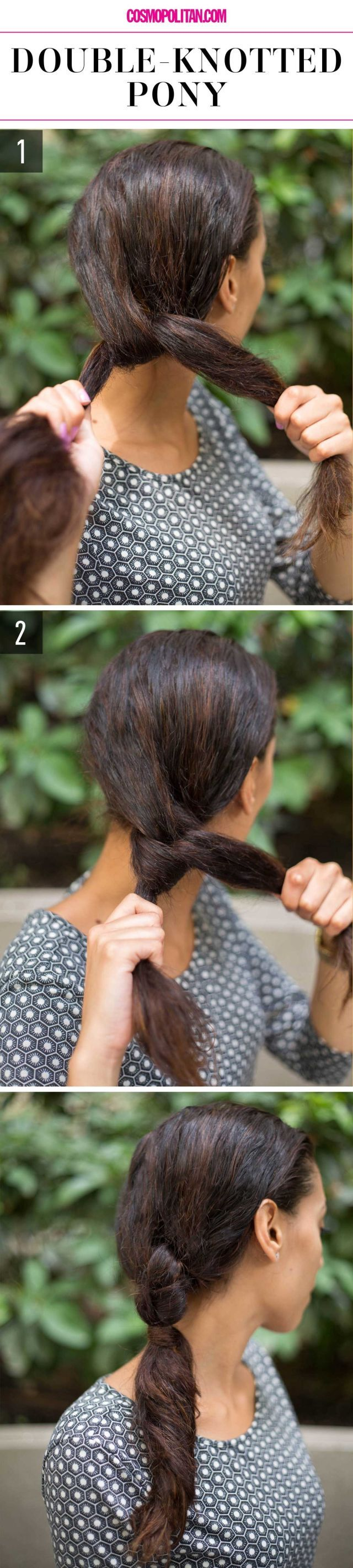 How to do a double-knotted low ponytail.