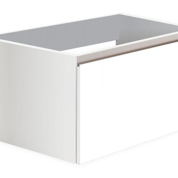 191.42€ Mueble suspendido de 600x350x450 con contenedor de alta calidad, estracción total cierre suave; salvasifón; realizado en laminado de 19 mm acabado blanco seda o roble claro y tirador uñero en cromo cepillado acabado aluminio mate