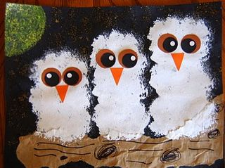 Owl Paintings-Made these last week with K, 1st, and 2nd grade students. They were so cute!