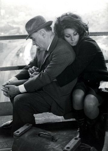 "indypendent-thinking:  "" Sophia Loren with her arm around her husband, Carlo Ponti.  """