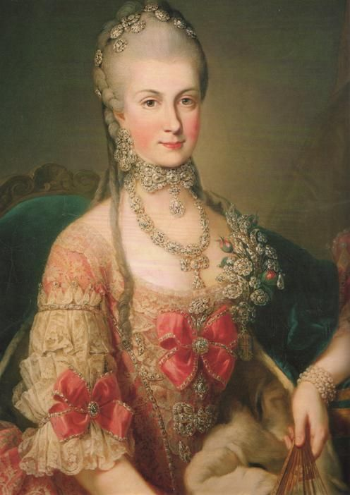 The Archduchess Maria Christina of Austria, daughter of Maria Theresa, with a complex parure characteristic of eighteenth-century jewelry.
