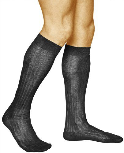 2 Pairs Mens Knee High Socks Ribbed Elegant and Thin Over the Calf Length 100 mercerized COTTON Vitsocks Classic 9511 black *** You can get additional details at the image link.Note:It is affiliate link to Amazon.