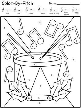 Christmas Color by Music Worksheets