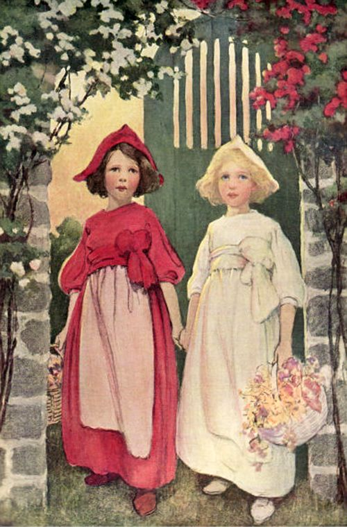 """Snow-White and Rose-Red. From """"A Child's Book of Stories"""" illustrated by Jessie Willcox Smith (1911)"""