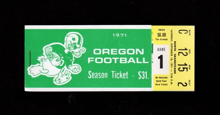 >1971 ~RARE~ University of Oregon Ducks COMPLETE SEASON FOOTBALL TICKET BOOKLET! | eBay