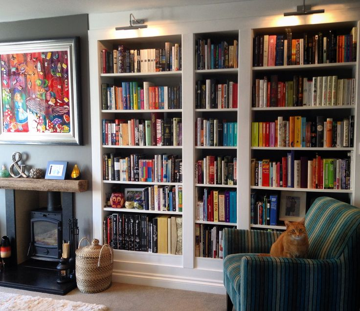 Built-in Billy bookcases. Farrow & Ball  Mole's Breath on chimney breast