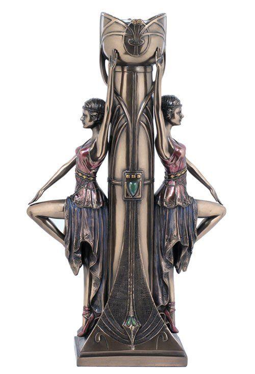 ART DECO LADIES CANDLE HOLDER - BRONZE : Lot 782U