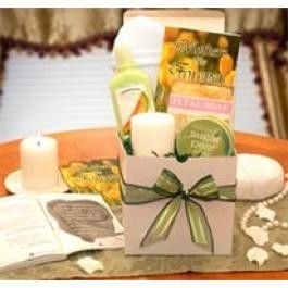 """Mothers Are Forever Book Inspirational thoughts and love for Mom, Sugar Pear Moisturizing Body Wash, Sugar Pear Moisturizing Body butter, 3"""""""" Aromatherapy Pillar Candle Terry cloth & Sisal Loofah sponge, Rose Petals fizzies, White gloss gift Box"""