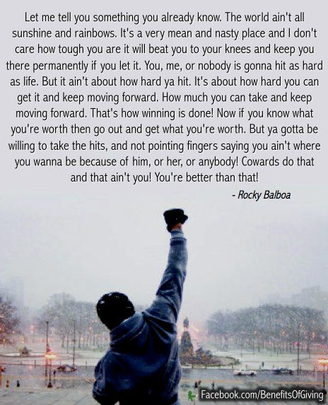 It's about how hard you can get hit and keep moving forward. #quote #motivational #RockyBalboa