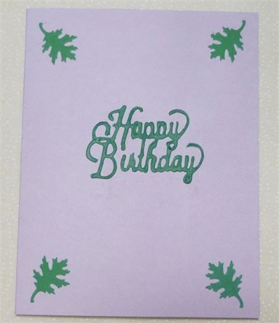 Happy Birthday Card, Green on Lavender, Measures 4.25 x 5.5, USA Made,   Click the picture to enlarge it.   This is a very cute card for a boy or even a pet,   It is a Happy Birthday Card and measures 4.25x5.5 and comes with an envelope in a clear vinal sleeve   Card is blank inside so you can add your own personal greeting.   *********************************************   If you would like this card sent to a 3rd party just let me know what you want me to put inside and the address it goes…
