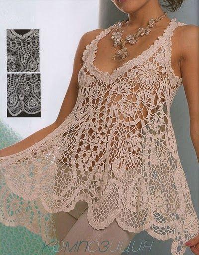 La tunica- beautiful crochet tunic in creme thread